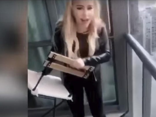 Marcella Zoia, 19, is accused of tossing two chairs off a condo balcony in downtown Toronto.