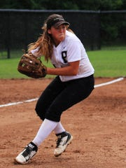 Plymouth senior third baseman Brittney Miller fires