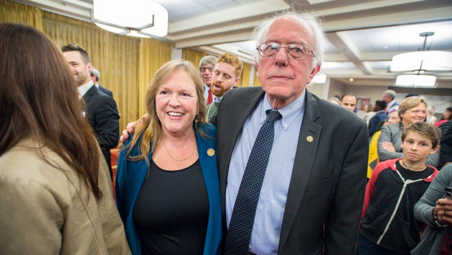 U.S. Senator Bernie Sanders, I-Vt., and his wife, Jane Sanders, greet supporters after Sanders spoke to members of the Vermont Democratic Party in Burlington on Friday, May 5, 2017.