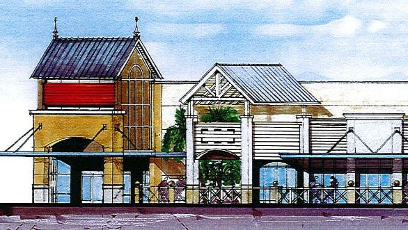 Artist concept for a restaurant with outdoor seating at planned Titus Landing shopping center project off u.S. 1 in Titusville.