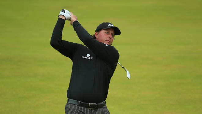Phil Mickelson of the USA in action during the final round of the Aberdeen Asset Management Scottish Open at Royal Aberdeen on July 13, 2014 in Aberdeen, Scotland.