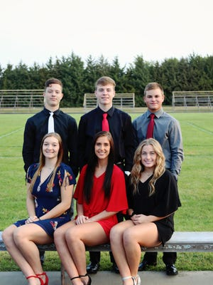 Victoria High School 2020 Homecoming candidates are, front row left to right, Lydia Sander, daughter of Chris and Christie Sander;  Kinley Windholz, daughter of Chris and Kristy Windhoz; and Emily Sterling, daughter of Shawn and Jamie Sterling.Back Row left to right:  Lucas Klein, son of Kevin Klein and Kay Harder;   Jason Karst, son of Mark and Shannon Karst; and Kaden Rome, son of Deb Rome.