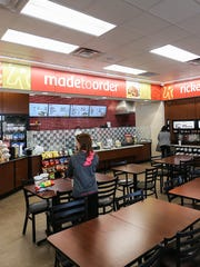 Seating for the in-store restaurant at a Ricker's convenience store in Columbus, Ind. After the chain's lawyers realized the in-store restaurants qualified for cold beer sales, this Ricker's location and one in Sheridan obtained the required licenses to serve cold beer to patrons for consumption in the restaurant or to-go.