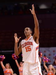 Clemson forward Donte Grantham (15) reacts after sinking a three point shot against Boston College during the 2nd half on Wednesday, February 17,  2016 at Bon Secours Wellness Arena in downtown Greenville.