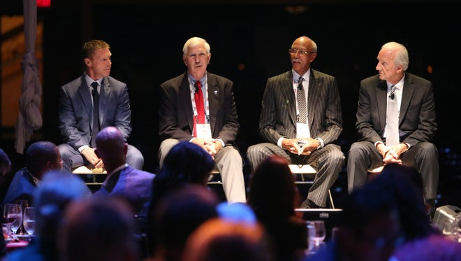 Former Red Wing Kris Draper, Detroit Lions Greg Landry, Detroit Piston Dave Bing and Detroit Tiger Al Kaline took part in a discussion about Detroit sports history during The Detroit Homecoming held at the Opera House on Wednesday, Sept. 30, 2015.