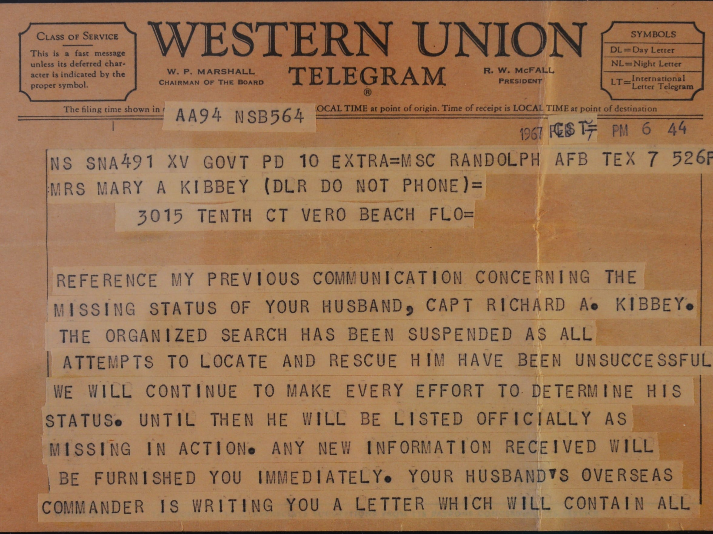 Mary Ann Kibbey received this telegram on Feb. 7, 1967,