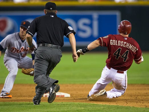 Arizona Diamondbacks' Paul Goldschmidt steal second base in the sixth inning as the D'Backs play the Detroit Tigers in an interleague game at Chase Field on Wednesday, July 23, 2014. He scored later in the inning. The Tigers defeated the Diamondbacks 11-5.