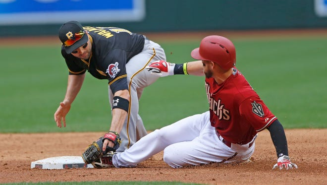 Pirates' Neil Walker (18) applies the tag on Diamondbacks' Ender Inciarte (5) as Inciarte unsuccessfully tried to stretch a single into a double at Chase Field in Phoenix, AZ on April 26, 2015.