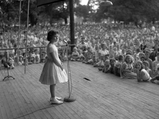 Brenda Lee onstage at Centennial Park, Nashville, Tennessee, late 1950s.