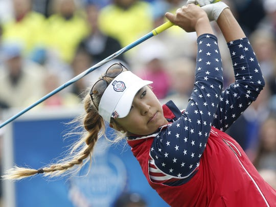 Michael Probst/AP Alison Lee tees off in the singles matches on Day 3 of the Solheim Cup on Sept. 20. United States' Alison Lee tees off in the singles matches on Day3 of the Golf Solheim Cup in St.Leon-Rot, Germany, Sunday, Sept. 20, 2015.(AP Photo/Michael Probst)