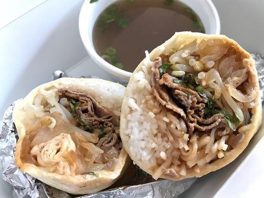 The phorrito, a pho-burrito mashup, is on the menu