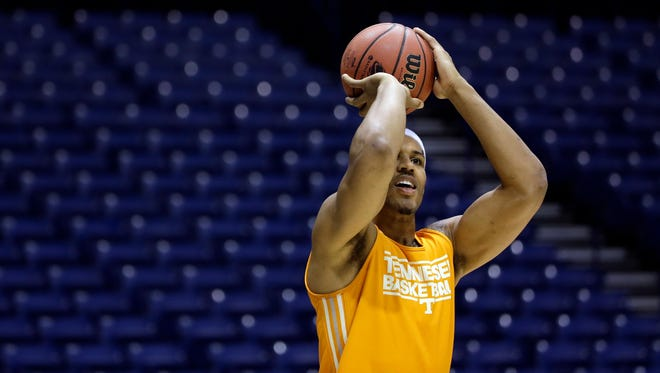 Tennessee's Jarnell Stokes shoots during practice for their NCAA Midwest Regional semifinal college basketball tournament game in Indianapolis in 2014.