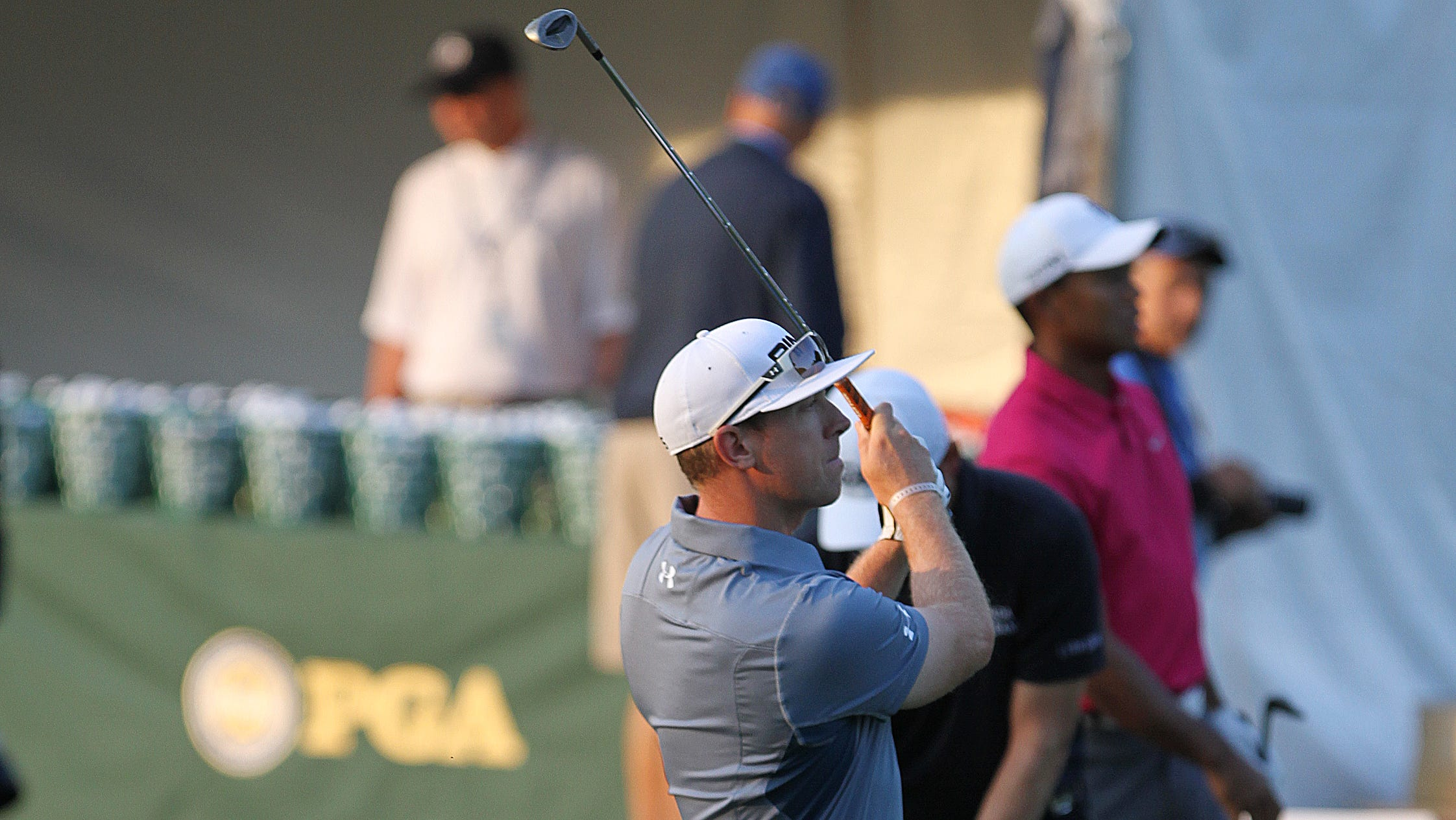 Hunter Mahan watches his ball while practicing on Oak Hill Wednesday.