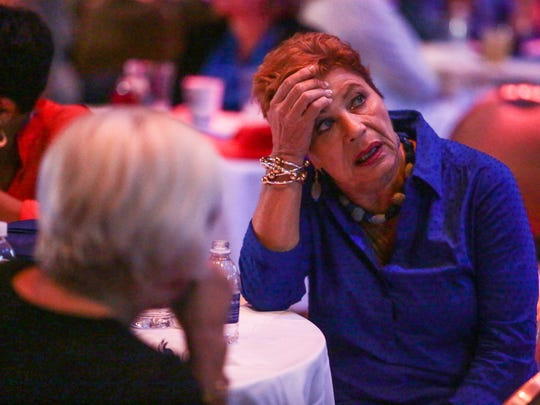Democrats react to presidential election results come in at an election watch party at the Show at the Agua Caliente Casino Resort Spa in Rancho Mirage on Tuesday, November 8, 2016.