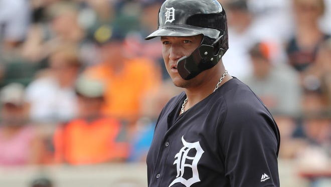Tigers first baseman Miguel Cabrera (24) looks on while at bat during the Tigers' 2-2 tie with the Rays in an exhibition on Monday, March 26, 2018, in Lakeland, Fla.