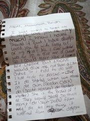 A note police found written by Brandon Jones.