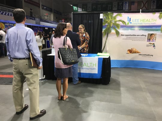 Lee Health was among more than 70 employers on hand at Wednesday's regional career fair at FGCU's Alico Arena.