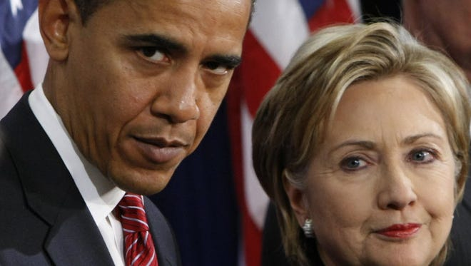 Then-president-elect Barack Obama nominates then-Sen. Hillary Clinton as secretary of State in Chicago in 2008.