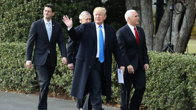 President Trump with Vice President Pence and GOP congressional leaders, Dec. 20, 2017, Washington.