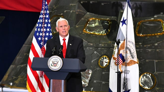 Vice President Mike Pence visited Kennedy Space Center on Thursday and spoke to hundreds of NASA workers inside the Vehicle Assembly Building. Vice President Pence chairs the National Space Council. Behind Pence is the NASA Orion capsule that has flown in space.