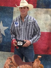 Mertzon's Tyler West shown with a recent rodeo trophy buckle and saddle. West, who recently completed his junior year of high school, competes June 4-10 at the Texas High School Rodeo Association state finals in Abilene.