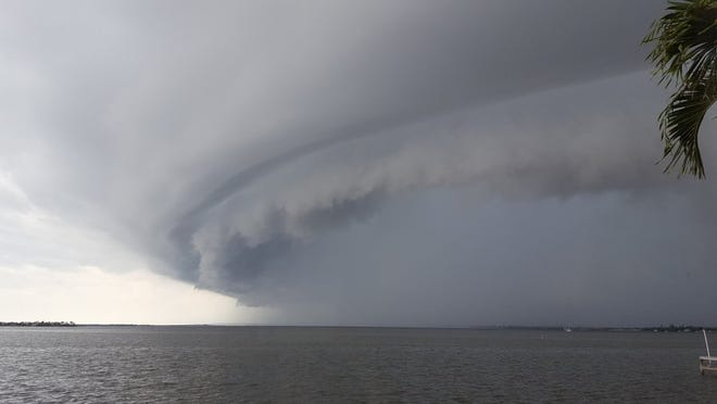 Deborah Fread took this photo from the Ernest Lyons Bridge in Jensen Beach. The thunderstorm traveled west to east over the Indian River Lagoon and headed to Hutchinson Island.