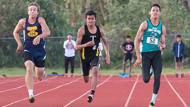Matt Wong, center, had three top-three finishes at the Independent Interscholastic Athletic Association of Guam Track and Field all-island meet in Tiyan's first year, including a championship in the 200-meter dash.