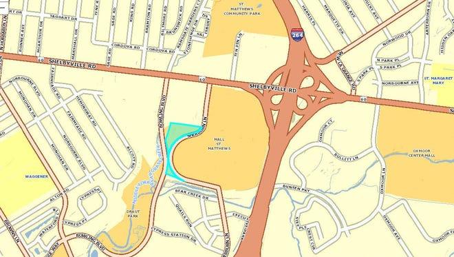 The light blue portion shows where the Hilton Garden Inn is planned near Mall St. Matthews.