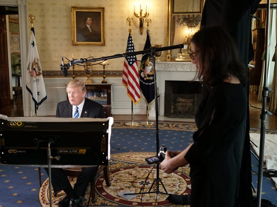 Donald Trump with filmmaker Alexandra Pelosi for the