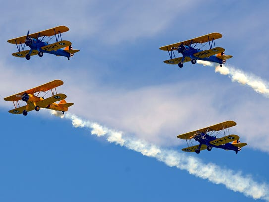 The Stearman group performs for the crowd during the