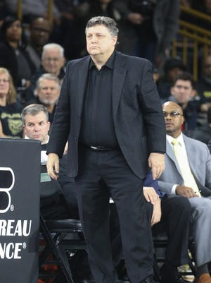 Oakland University coach Gerg Kampe during the first half against Detroit Mercy on Jan. 13, 2017 at Athletics Center O'rena in Auburn Hills.