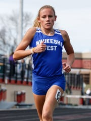 Waukesha West junior Brooke Lytle competes in the 1600 meter run relay during the Classic 8 Girls Conference Relays at Arrowhead on Monday, April 23, 2018.