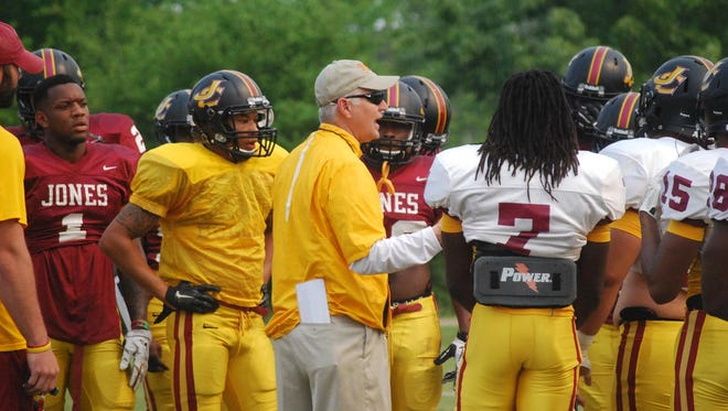 First-year JCJC head football coach Steve Buckley addresses his players prior to the start of an April spring practice.