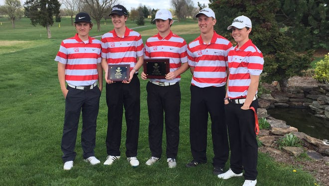 The Glendale boys golf team won the 2016 MSU Golf Relays with a team score of 293 at Bill and Payne Stewart Golf Course in Springfield on Thursday, March 31. From left: Christopher Obert, Graham Sherard, Sam Holmes, Alex Locke and Chase Gafner.