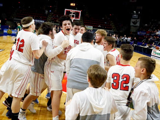 Moriah players celebrate their state championship win