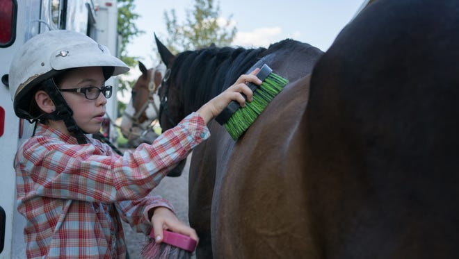 Raeli Barrera, 10, brushes a horse before riding at Rockin' Horse Riding Academy in Mesilla on Aug. 8.