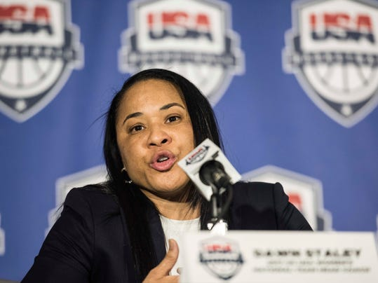South Carolina women's head basketball coach Dawn Staley addresses the media during a press conference at Williams Brice Stadium, Friday, March 10, 2017, in Columbia, S.C. Staley has been named the women's national team head coach for the 2020 Olympic games in Tokyo. (AP Photo/Sean Rayford)