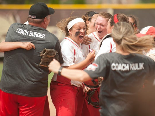 The Vineland High School softball team celebrate their 8-5 win over Montgomery in the softball Group 4 state semifinal game played at Rowan University in Glassboro on Thursday, May 31, 2018.