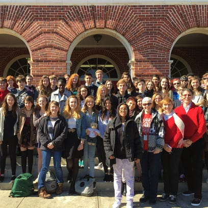 Leon High students and families welcome French students to Tallahassee last Tuesday.