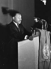 Dr. Martin Luther King speaks in Cincinnati on Sept. 8, 1967.