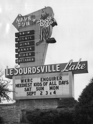 This 1967 picture features the LeSourdsville Lake sign.