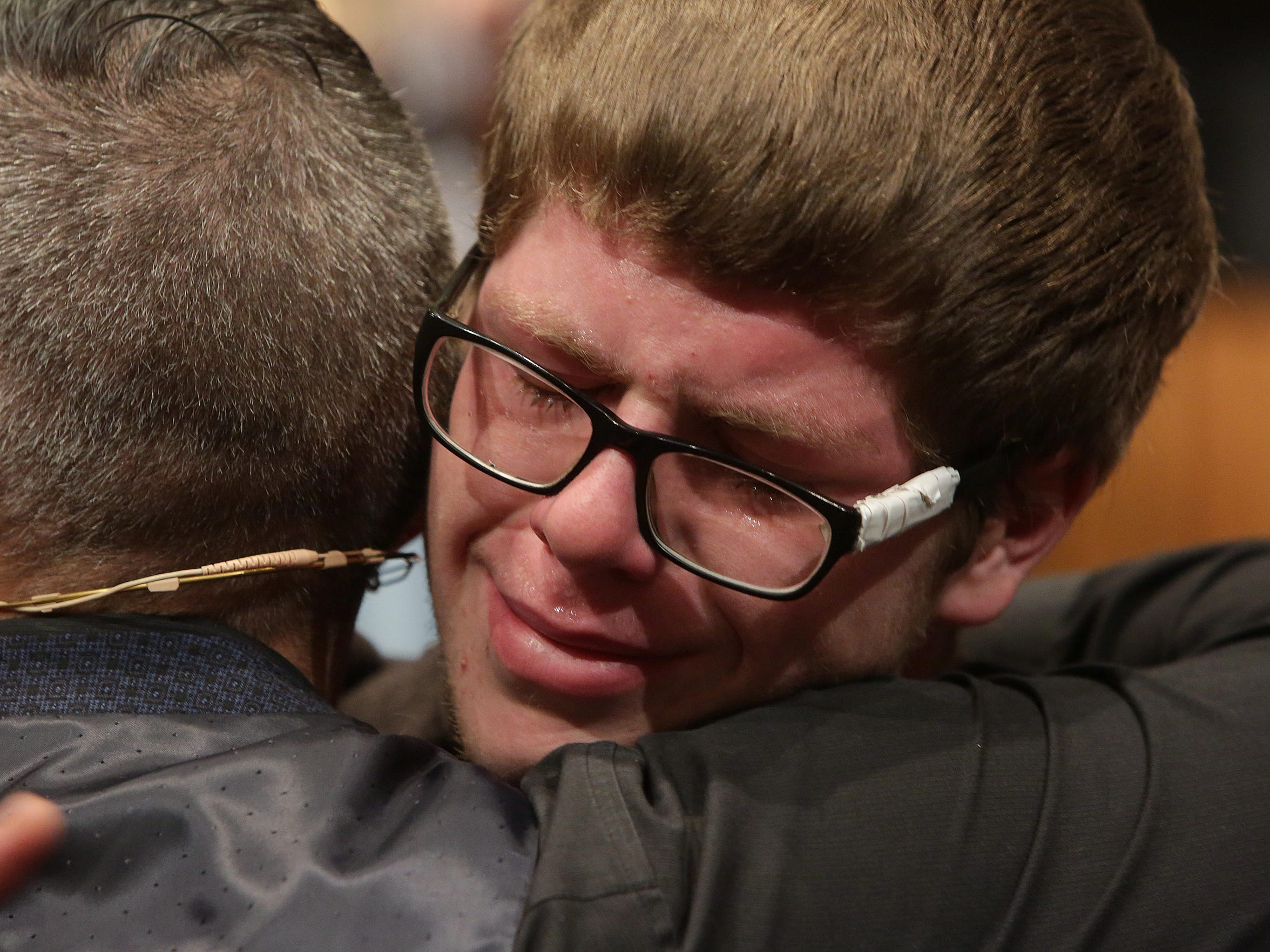 Newly formed CityReach Church is led by Pastor John Alarid and his wife, Hannah.  Jake Clayton, right, who came forward to accept Jesus Christ, is emotional as he is hugged by Pastor John Alarid.