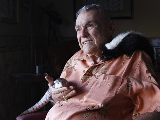 Shell Factory & Nature Park owner Tom Cronin sits with