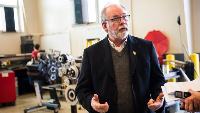 Jim Cramer discusses details of the diesal workshop at the Adams County Tech Prep building March 7, 2016. Cramer is retiring from the position this year at the age of 65.
