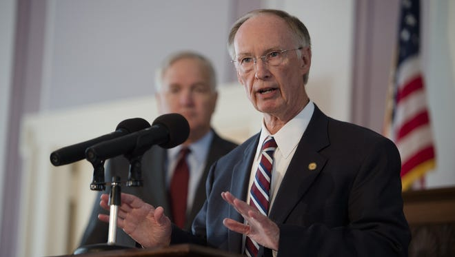 Gov. Robert Bentley announces the states settlement with BP over the 2010 oil spill in the Gulf of Mexico in this July 2, 2015, file photo, at the Capitol building in Montgomery.