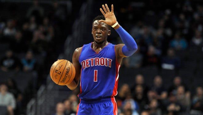 Detroit Pistons guard Reggie Jackson signals to his team against the Charlotte Hornets on Dec. 7, 2016.