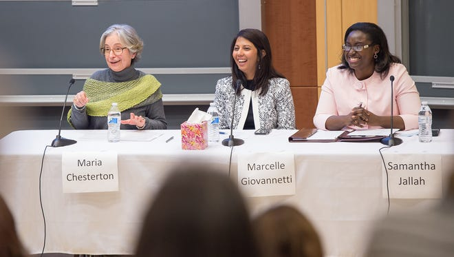 Wilson College hosts a forum on refugees and immigrants where guest speakers: Maria Chesterton, left, Marcelle Giovannetti, center, and Samantha Jallah speak of their personal experiences on Tuesday, March 21, 2017.