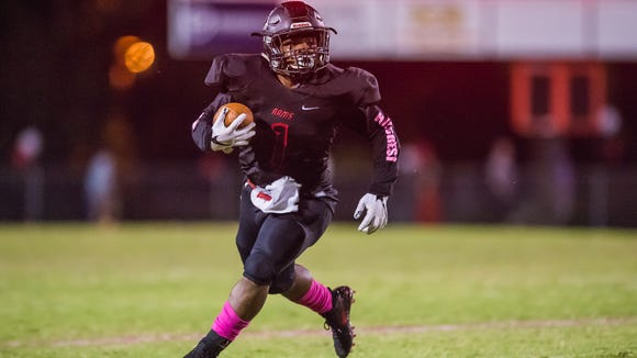 Hillcrest running back Collin Whitfield rushed for 123 yards in the Rams' 54-7 victory over Riverside at The Reservation Thursday night.