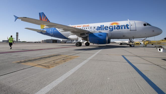 Allegiant Air prepares for take off at Phoenix-Mesa Gateway Airport June 29, 2017. Development experts expect a barrage of additional employment and retail opportunities in and around the airport in the next five years.