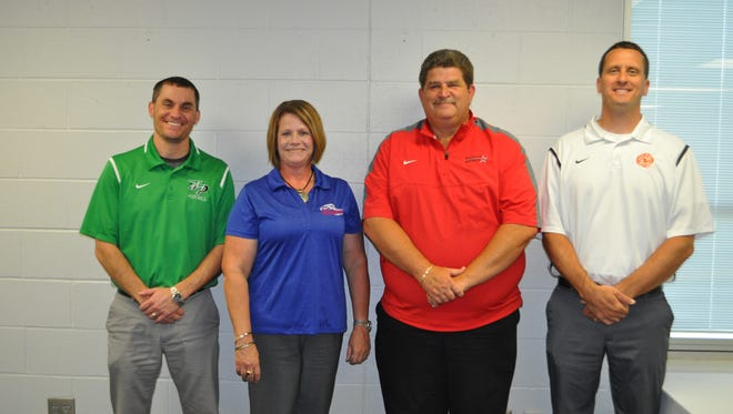 Athletic directors from schools joining the SBAAC in 2017 are, from left: Ryan Briggs, Fayetteville; Cindy Running, Clinton Massie; Jim Marsh, East Clinton; Troy Diels, Wilmington.
